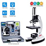 AmScope 120X-1200X 52-pcs Kids Beginner Microscope STEM Kit with Metal Body Microscope, Plastic Slides, LED Light and Carrying Box (M30-ABS-KT2-W),White