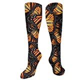 Be-ryl Las mujeres de Orange Monarch Wings Fashion Knee High Calcetines largos Medias deportivas