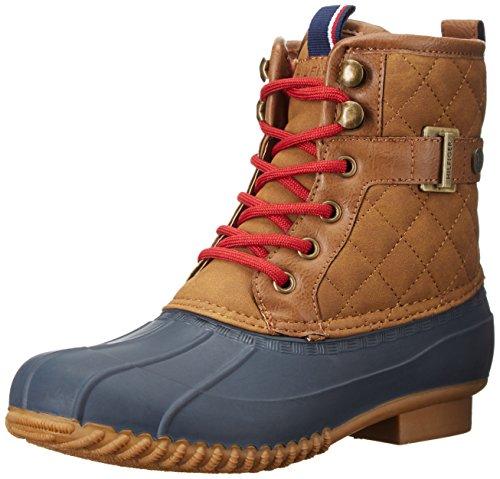 Tommy Hilfiger Women's Ravel2 Rain Boot, Brown/Navy, 5