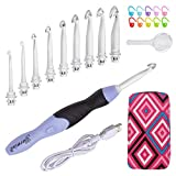 Lighted Crochet Hooks Set- Rechargeable Crochet Hook with Latest Case, 9 in 1 Interchangea...