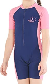 Karrack Girls and Boy One Piece Rash Guard Swimsuit Kid Water Sport Short Swimsuit UPF 50+ Sun Protection Bathing Suits