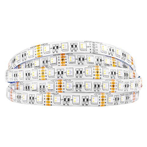 BTF-LIGHTING 5050 RGBW RGB+Warmweiß (2700K-3000K) 4 Farben in 1 LED 5m 60LEDs/m Mehrfarbiges LED-Leuchtband IP65 Silikonbeschichtung Wasserdichte Weiß PCB DC12V für Innendekorationen