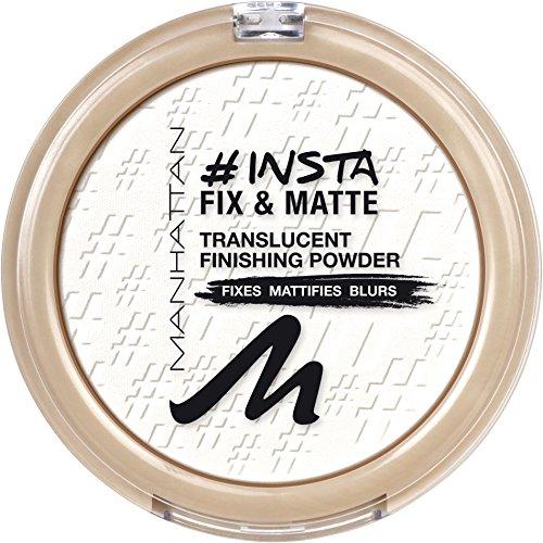 Manhattan Insta Fix & Matte, Mattierendes, weißes Kompaktpuder zum Baken und Fixieren, Farbe 001 Clear, 1 x 8g