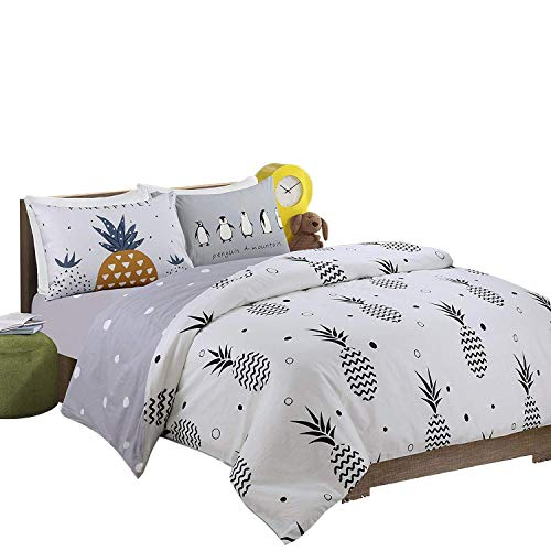 HNNSI 4 Pieces Pineapple Pattern Kids Bedding Sets Full Size for Girls Boys, 100% Cotton AB Version Design Reactive Printing Kids Duvet Cover with Fitted Sheet Sets (Full, Fitted Sheet Set)