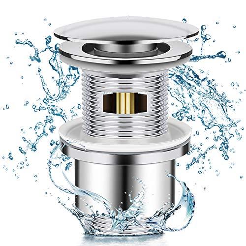 Winzwon Ablaufgarnitur POP UP Ventil für Waschbecken & Waschtisch, Waschbecken Abflussgarnitur mit Überlauf, Chrom Pop Up Stöpsel aus Messing inkl Ersatzdichtungen Werkzeugloser