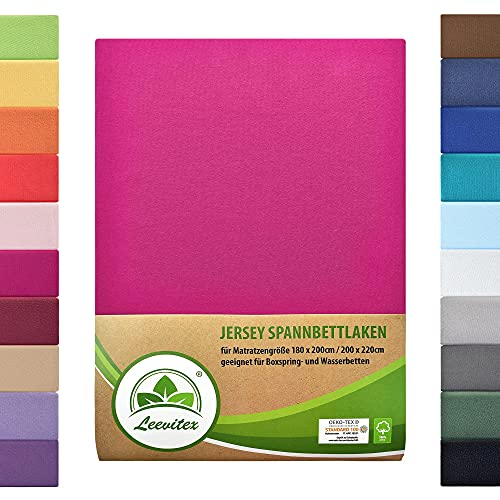 leevitex® Farbenfrohes Spannbettlaken für WASSERBETTEN & BOXSPRINGBETT Spannbetttuch Jersey 180 x 200 - 200 x 220 cm, 40cm Steghöhe 100% Baumwolle ca. 170 g/m² (Pink/Magenta)