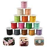 TOKERD 15 color hilos de cera 1 mm cordón de algodón encerado 150 m cordón de cera hilo de poliéster 1 mm hilo coser cuero cordón de macramé para hacer joyas