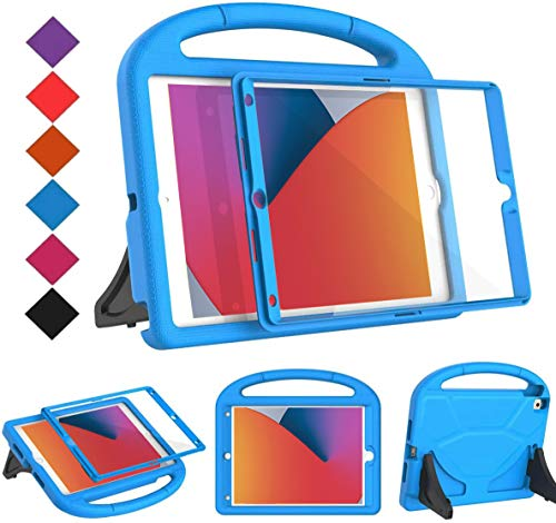 BMOUO Kids Case for New iPad 10.2 2020/2019 - iPad 8th/7th Generation Case with Built-in Screen Protector, Shockproof Light Weight Handle Stand Kids Case for iPad 10.2' 2020/2019 Latest Model - Blue