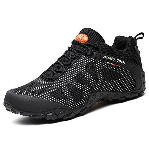 XIANG GUAN Femmes Mesh Respirant Outdoor Off-Road Running Randonnée Chaussures Dames Trekking Camping Sneakers Lace-up Low-Top Sports Casual Footwear (38 EU, Noir-Gris)