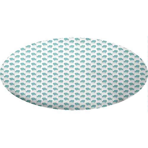 Turquoise Round Fitted Tablecloth, New Years Christmas Theme Winter Snow Gloves with Furry Borders Image Decorative Elastic Edge Polyester Fitted Table Pad, Fits 48' Round Table,for Dining Room Use