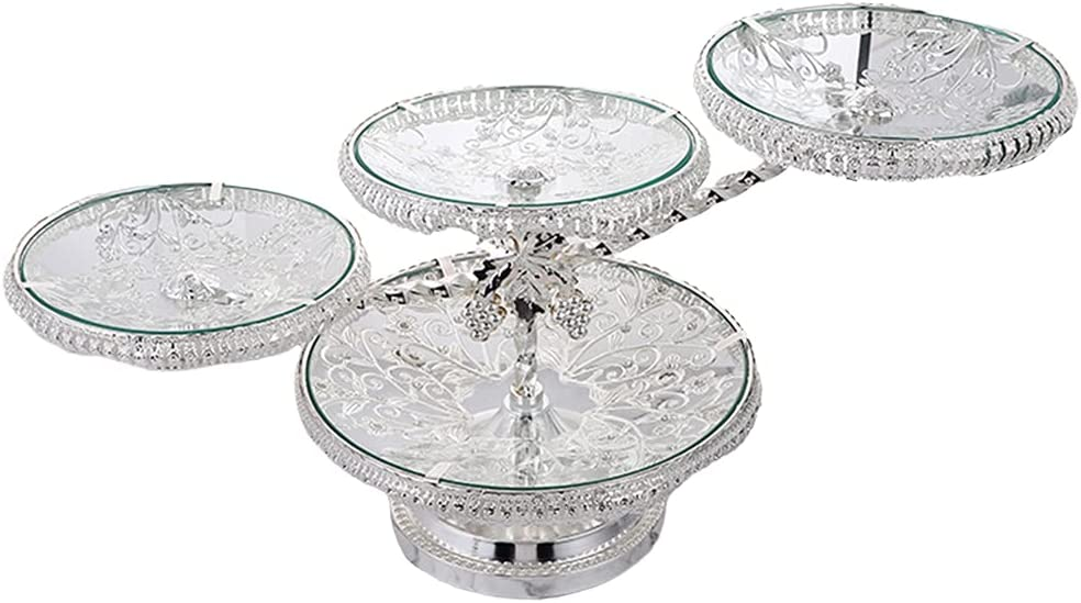 Prettyia European Round Fruit Bowl Cheap mail order sales low-pricing Tempered Glass Multilayer Sto