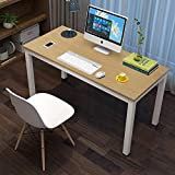 Office Computer Desk 45', Modern Style Steel Frame Wooden Table - Computer Desk for Study PC Laptop Writing Table Easy to Install Stationary Workstation Home & Office (45.2'x 23.6'x29.1')-Beech+White