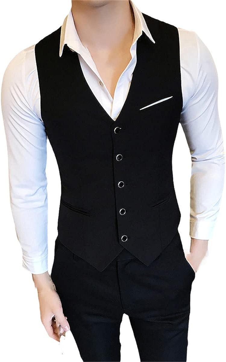 Men's business casual slim fit vest fashion designer classic solid color single-breasted suit vest