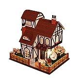 HE TUI Casa Hecha a Mano de Madera DIY Home Set Montaje Casa Modelo Villa Regalo de Cumpleaños Juguete con Movimiento de Música Cubierta de Polvo