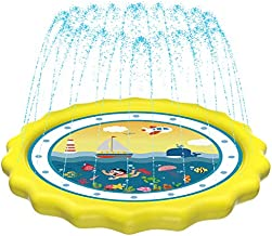 HITOP Kids Sprinklers for Outside, Splash Pad for Toddlers & Baby Pool 3-in-1 60