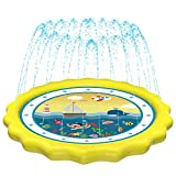 HITOP Kids Sprinklers for Outside, Splash Pad for Toddlers & Baby Pool 3-in-1 60' Water Toys Gifts for 1 2 3 4 5 Year Old Boys Girls Splash Play Mat