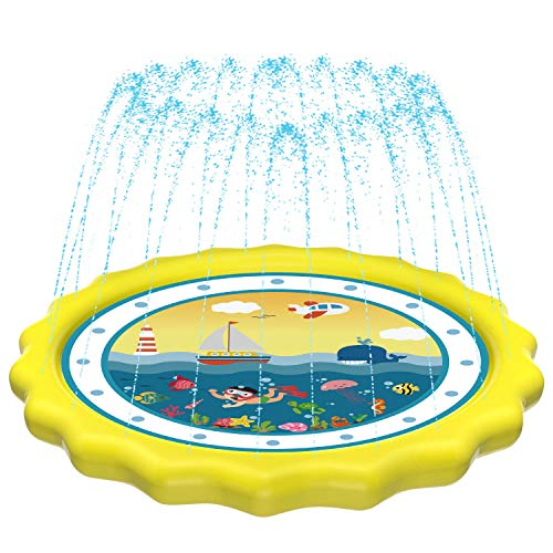 """HITOP Kids Sprinklers for Outside, Splash Pad for Toddlers & Baby Pool 3-in-1 60"""" Water Toys Gifts for 1 2 3 4 5 Year Old Boys Girls Splash Play Mat (Ocean) Yellow"""