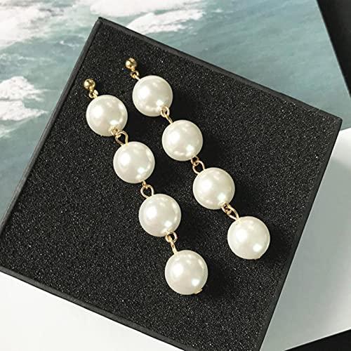CXWK Pendientes de botón de Mariposa Grande de Lujo Coreano a la Moda para Mujer, Pendientes de Boda de Perlas Redondas Doradas Bohemias, Regalo de joyería