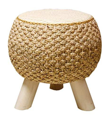 Taburete Bambú Tapizado Redondo, Taburete De Cambio De Zapato De Pierna Madera Taburete Para Sala Estar Mesa Centro Sofá Taburete Decoración Del Hogar