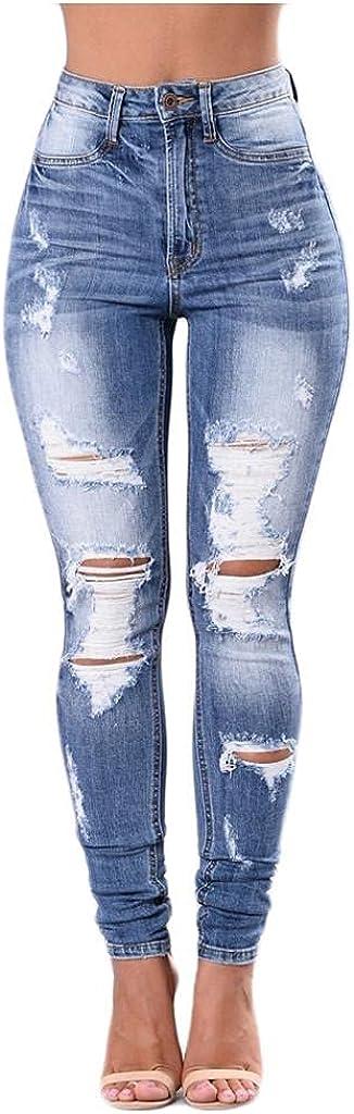 Aiouios Y2K Fashion Jeans for Women High Waisted Skinny Ripped Jeans Stretch Casual Boyfriend Denim Pants Streetwear