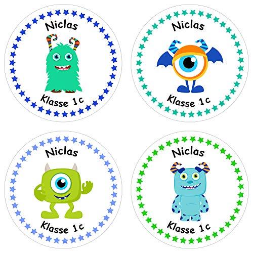 Papierdrachen 24 individuelle Aufkleber für Kinder - Motiv Monster - personalisierte Sticker - Perfekt zur Einschulung - Geschenk für die Schule - Namensaufkleber und Schulbuchetiketten