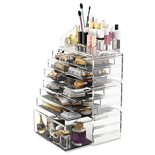 READAEER Organizador de Maquillaje con 12 Niveles Ajustables, Caja de Almacenamiento Multi-Funcional (Transparente) 🔥