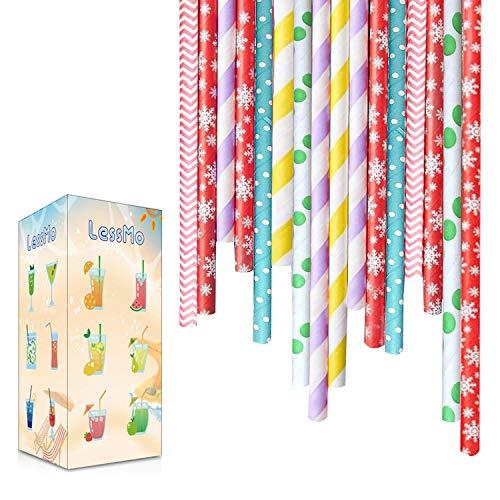 LessMo 300 STK. Papierstrohhalme, Biologisch Abbaubare Einweg Trinkhalme, Lebensmittelecht, 6 Farben