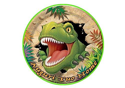 Partycolare Cialda Personalizzabile Tonda 20,5 cm Dinosauro - dino006