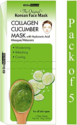 BioMiracle - The Original Korean Collagen Cucumber Face Mask - 5 Count