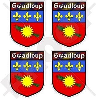 Cara/ïbes Gwada 5,1/cm bumper-helmet en vinyle autocollants Guadeloupe Drapeau France gwadloup Noir 50/mm Stickers x4