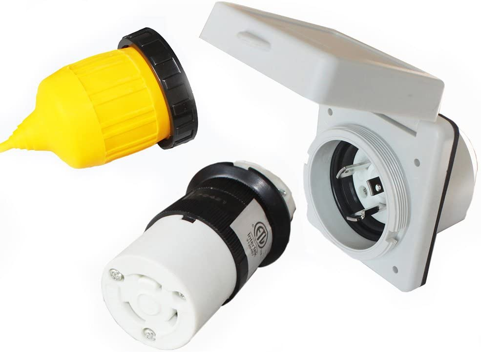 X-Haibei 30 amp RV Power Inlet Plug Female Twist Locking Connector 125V AC White Inlet w/Weatherpoof Cover Boot Kit : Automotive