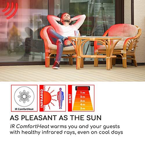 Blumfeldt Rising Sun • Infrarot-Heizstrahler • Carbon-Heizelement • gezielte Wärmeabgabe • Höhenverstellbarkeit von 70 cm • Stativ-Standfuß • 850 / 1650 / 2500 Watt Leistung • Abschalt-Timer bis 24 St. • LED-Anzeige am Gerät • Fernbedienung • Aluminium - 4