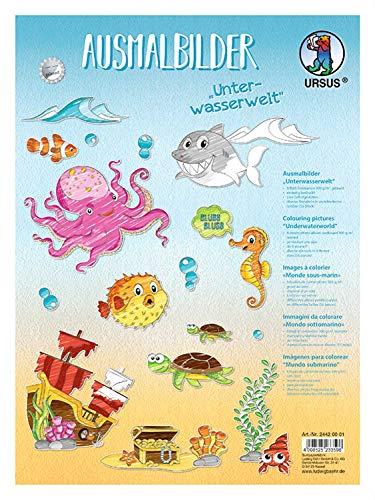 Ursus 24420001 Ausmalbilder Unterwasserwelt, aus Fotokarton 300 g/qm, 8 Blatt ca. 24,8 x 33 cm, einseitig Bedruckt und gelasert, 55 Stanzteile in verschiedenen Größen, weiß