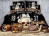 JF-420 Pirata tesoros cráneo juego de ropa de cama 4pcs niños adolescentes funda de edredón conjuntos individual 150 cm...