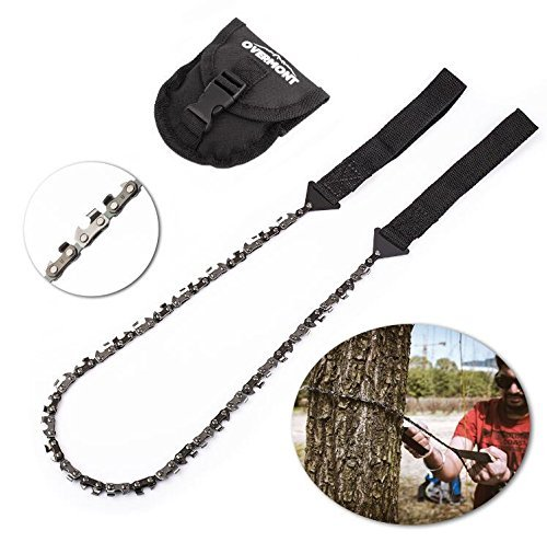 Overmont 33 Saws Outdoor Camping Pocket Chainsaw Cuts 3X Faster with Cutting Blade on Every Link Portable Hand Saw Cuts Like A Knife- Bonus Front Snap Carrying Case