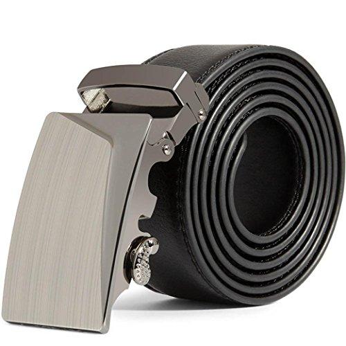 sunshineBoby Herren Gürtel Ratsche Automatik Gürtel für Männer Breit Ledergürtel,stufenlos verstellbarer Stoffgürtel,Länge 125 CM, Breite ca. 3,5 cm (Schwarz B, 125CM X 3.5 cm)