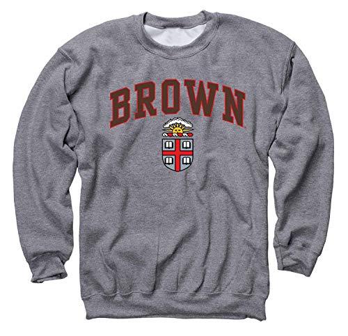 Campus Colors NCAA Adult Arch & Logo Gameday Crewneck Sweatshirt (Brown Bears - Sport Gray, Medium)