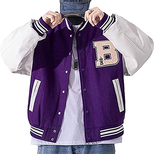 Yokbeer Wiosenno- jesienna Męska Kurtka Baseballowa Chłopięca Oddychająca, Patchworkowa Kurtka College Jacket (Color : Purple, Size : XXL)