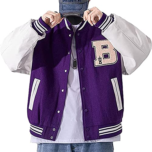 FGDJTYYJ メンズジャケット大学野球スポーツジャケットスウェットジャケットファッションユニセックスストリートウェアクラシック野球ジャケット野球スポーツジャケットスウェットジャケット (Color : Purple, Size