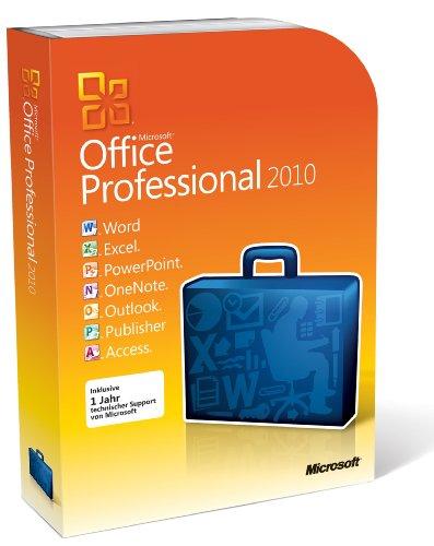 Microsoft Office Professional 2010 -Full Package Product,1 PC, 1 tragbares Gerät desselben Benutzers,DVD,Win,Deutsch,32/64-bit