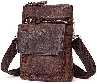 YXHM AU Men's Genuine Leather Vintage Cowhide Flip Single Shoulder Bag (Color : Red Coffee)