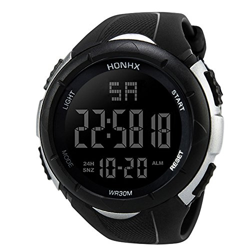 Yesmile Relojes❤️Reloj Electrónico de Silicona Hombres Analógico Militar Digital Deporte LED Impermeable Reloj de Pulsera reloje Pulse HONHX (Blanco)