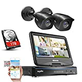 [Updated Version]SANNCE CCTV Camera System 4CH 1080N CCTV DVR with 10.1' HD Monitor and 2x 1080P Day Night Weatherproof Security Cameras, P2P, Motion Alert, 1TB 3.5' Hard Drive Pre-Install