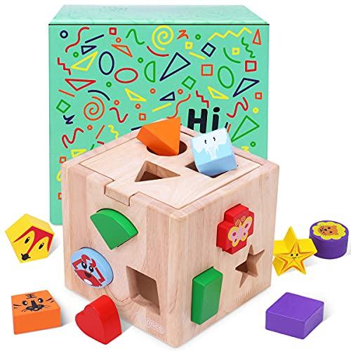Japace Cubo Actividades Bebe, Juguetes de Madera Montessori con 12 Bloques de Forma Geométrica Cubo de madera Aprendizaje Temprano Educativo Rompecabezas de Juguete Regalos para Niños Niñas 2 3 4 Años
