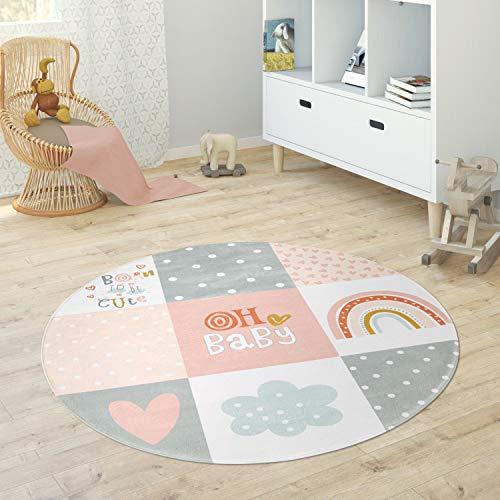 Paco Home Alfombra Infantil Redonda Chicas Chicos Estrellas Luna Elefante Arco Iris, tamaño:Ø 80 cm Redondo, Color:Rosa