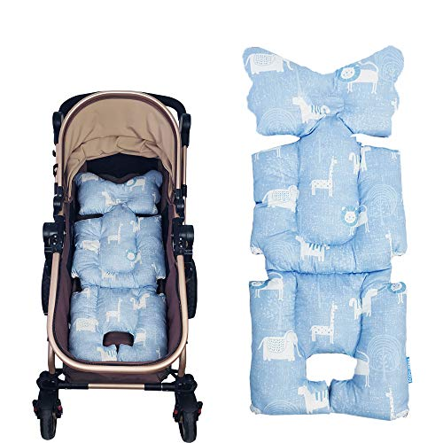 Stroller Liner Insert Car Seat Liner Cover, Infant Reversible Cotton Newborn Cushion pad Universal for Baby Carrier pram, Thick Padding, Non Slip, by DODO NICI Blue Lion