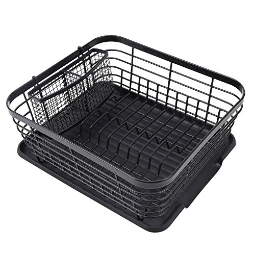 TQVAI Dish Drying Rack with Drainboard and Full Mesh Utensils Holder, Black