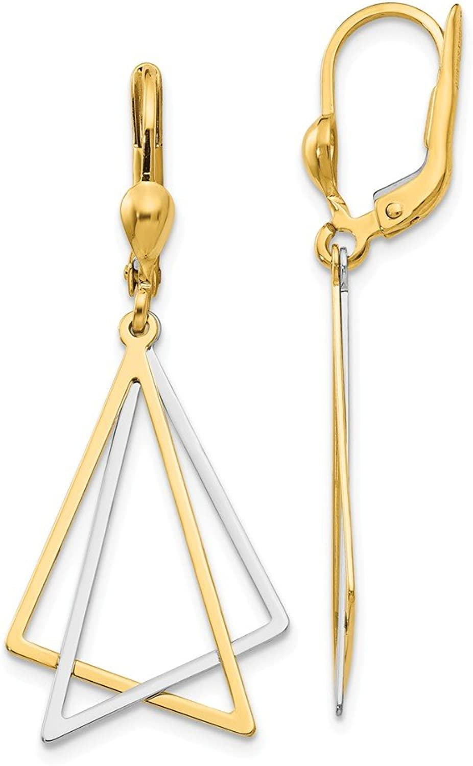 Beautiful White and yellow gold 14K Whiteandyellowgold 14k Twotone Leverback Drop Earrings