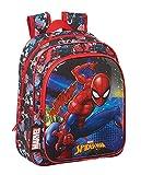 safta Mochila Escolar Infantil de SpiderMan Go Hero, 270x100x330mm, negro/rojo