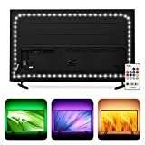 TV LED Backlight USB Powered, Hamlite 6500K White PC Monitor Bias Lighting for 60 65inch TVs,14.8Ft RGBW LED Strip Light with RF Remote 20 Colors Changing LED Background Ambient Lighting